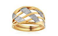Celozlatý výrazný dvojfarebný prsteň IZ10954