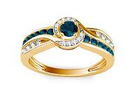 Luxusný prsteň s 0,640 ct modrými diamantmi Blue Lagoon KU109Y