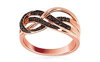 Luxusný prsteň s čiernými diamantmi Prima Vera rose 0,180 ct KU0053R