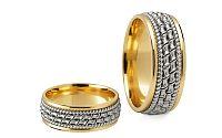 Svadobné obrúčky dvojfarebné zlato šírka 7 mm STOB145