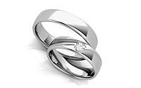 Unikátne svadobné obrúčky s heart diamantom 0,100 ct šírka 5 mm STOBR295A