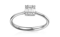 Zásnubný prsteň s baguette diamantmi 0.170 ct Indira white IZBR338A