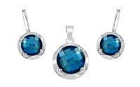 Zlatá súprava s diamantmi a London Blue topásom Keera KU475S