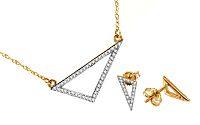 Zlatá súprava s diamantmi Triangles KU420S