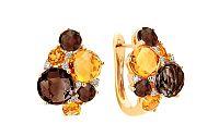 Zlaté diamantové náušnice s citrínom a dymovým quartzitom Liesse IZBR088YN