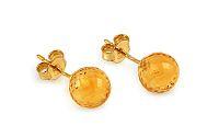 Zlaté napichovacie náušnice citrínové guličky IZ10956
