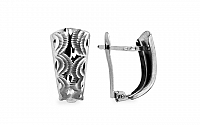 Zlaté náušnice k uchu s vlnovkovým gravírom IZ10362A