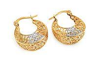 Zlaté náušnice krúžky s ozdobným výpletom IZ11389
