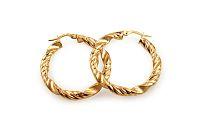 Zlaté náušnice točené kruhy s matovaním 3,2 cm IZ10306