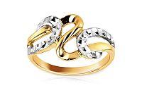 Zlatý dámsky prsteň kombinovaný IZ5996