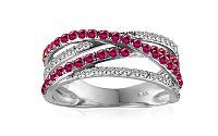 Zlatý diamantový prsteň s rubínmi IZBR225R