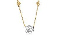 Zlatý dvojfarebný náhrdelník s kvietkami IZ10593