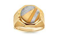Zlatý dvojfarebný pánsky pečatný prsteň IZ10555B