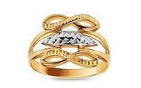 Zlatý dvojfarebný prsteň nekonečno s gravírom IZ10724