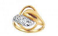 Zlatý dvojfarebný prsteň s trblietavým gravírom IZ10712