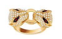 Zlatý prsteň Panthers so zirkónmi IZ11455