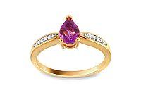 Zlatý prsteň s briliantmi a ametystom KU309AM
