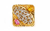 Zlatý prsteň s kameňmi IZ1634