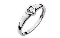 Zlatý srdiečkový zásnubný prsteň s diamantom Emmelie white BSBR003A
