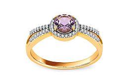 Ametystový prsteň s 0,180 ct diamantmi Amerei 7 KU0092
