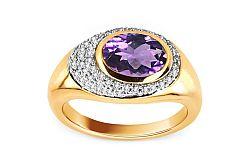 Ametystový prsteň s diamantmi 0,150 ct Amerei KU0006