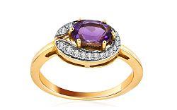 Ametystový prsteň s diamantmi 0,240 ct Amerei KU0004