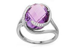 Ametystový prsteň s diamantmi Desarae IZBR192A