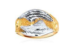 Celozlatý dámsky prsteň dvojfarebný IZKA340