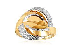 Celozlatý dámsky prsteň dvojfarebný s gravírom IZ10717