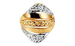 Celozlatý dámsky prsteň dvojfarebný s gravírom IZ10726