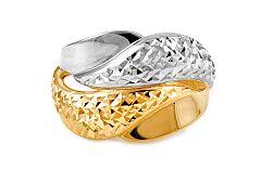 Celozlatý dvojfarebný prsteň s gravírom IZ10707
