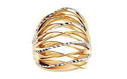 Celozlatý dvojfarebný prsteň s gravírom IZ11396