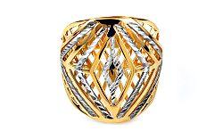 Celozlatý dvojfarebný prsteň s gravírovaním IZ10741
