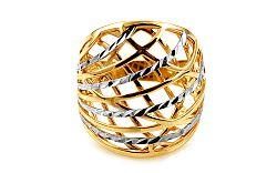 Celozlatý dvojfarebný prsteň s gravírovaním IZ10745