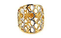 Celozlatý dvojfarebný prsteň s gravírovaním IZ10746