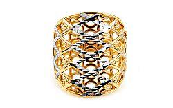 Celozlatý dvojfarebný prsteň s gravírovaním IZ10788