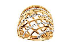 Celozlatý dvojfarebný prsteň s gravírovaním IZ11394