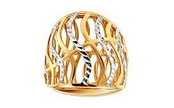 Celozlatý dvojfarebný prsteň s gravírovaním IZ11395