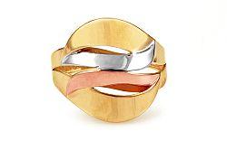 Celozlatý trojfarebný prsteň IZ10718