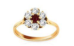 Dámsky prsteň kvet zo žltého zlata IZKA338
