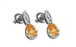 Diamantové náušnice s citrínom 0,040 ct Sumenis white KU292AN