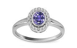 Diamantový prsteň 0,070 ct s tanzanitom Flame of Love KU0083