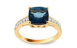 Diamantový prsteň s London Blue topásom Monique KU441