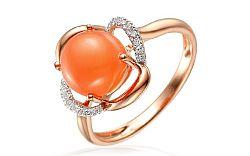 Diamantový prsteň s oranžovým mesačným kameňom IZBR119R