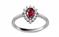 Diamantový prsteň s rubínom z bieleho zlata KU167A