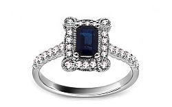 Diamantový prsteň so zafírom KU433