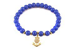 Guličkový modrý náramok so zlatou kotvou IZ9157B