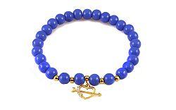 Guličkový modrý náramok so zlatým srdcom IZ9159B