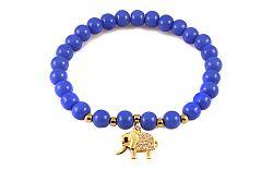 Guľôčkový modrý náramok so zlatým sloníkom IZ9162B