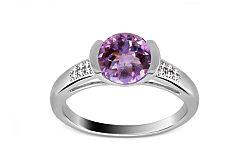 Luxusný prsteň s diamantmi 0,050 ct a ametystom Ardiente 10 KU0022